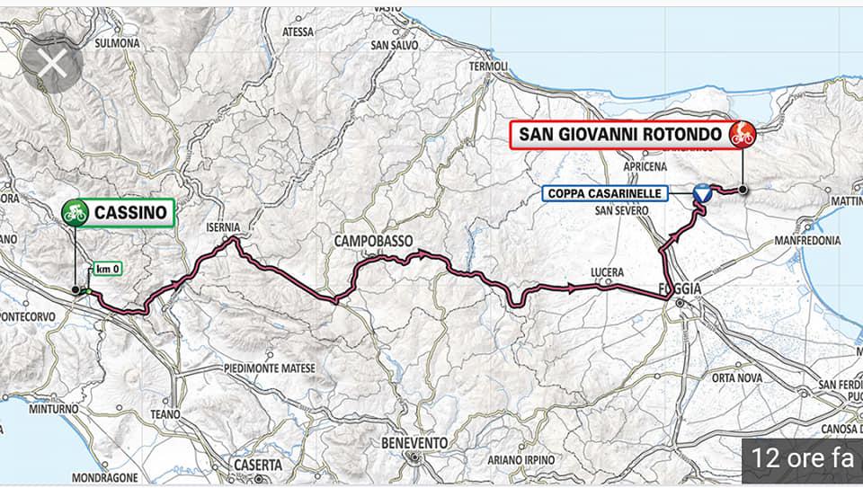 Cartina Italia 1810.Giro D Italia Tappa Cassino San Giovanni Rotondo Meteo E Turismo Nel Sannio