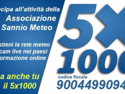 Dona il tuo 5x1000 a Meteoisernia. Il codice fiscale è 900 449 909 44